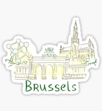 Brussels Panorama at night Sticker
