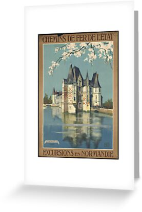 Vintage France T-Shirt Chateau Retro Travel Poster by TopTeeShop
