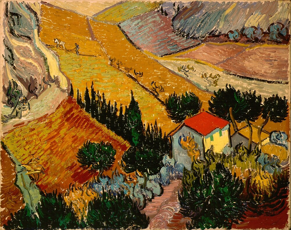 Original Vincent Willem van Gogh Impressionist Art Painting Restored  Landscape with House and Ploughman by jnniepce