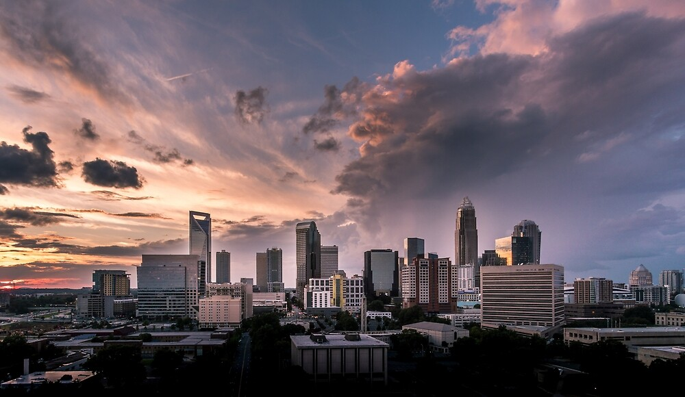 Charlotte downtown at sunset time in North Carolina by PRODUCTPICS
