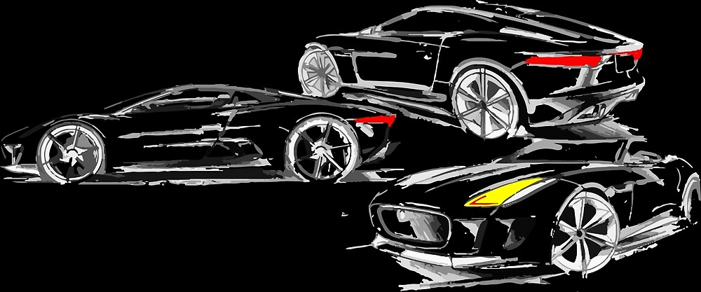 Car Sketch Coupe on Black by tfmotorworks