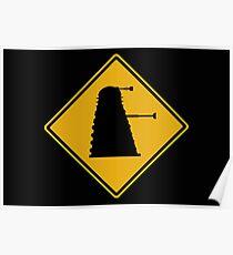 Dalek 1963 Silhouette Road Sign Poster