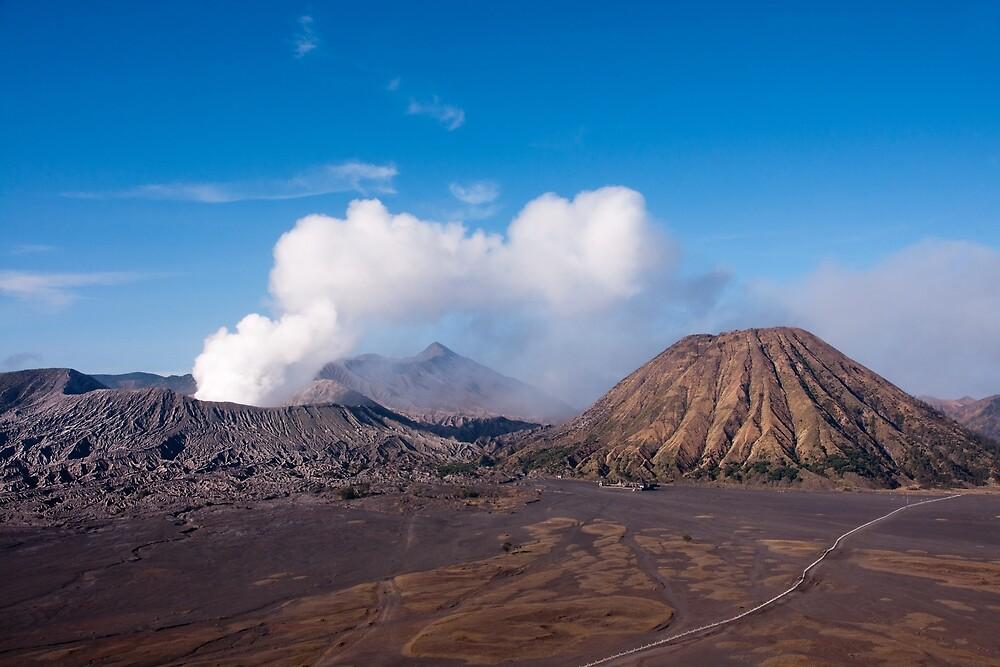 The active Mount Bromo next to mount Batok. by Eduard Todikromo