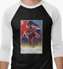 British WW1 T-Shirt Vintage Poster UK English World War 1 Men's Baseball ¾ T-Shirt