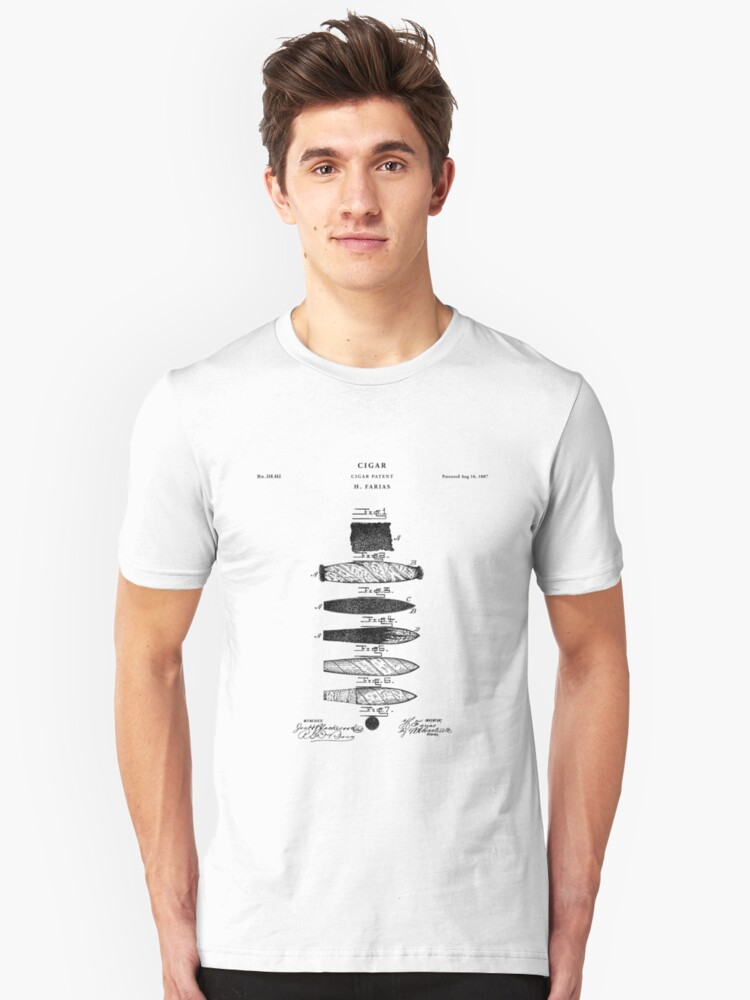 Cigar Patent Drawing Blueprint Unisex T-Shirt Front