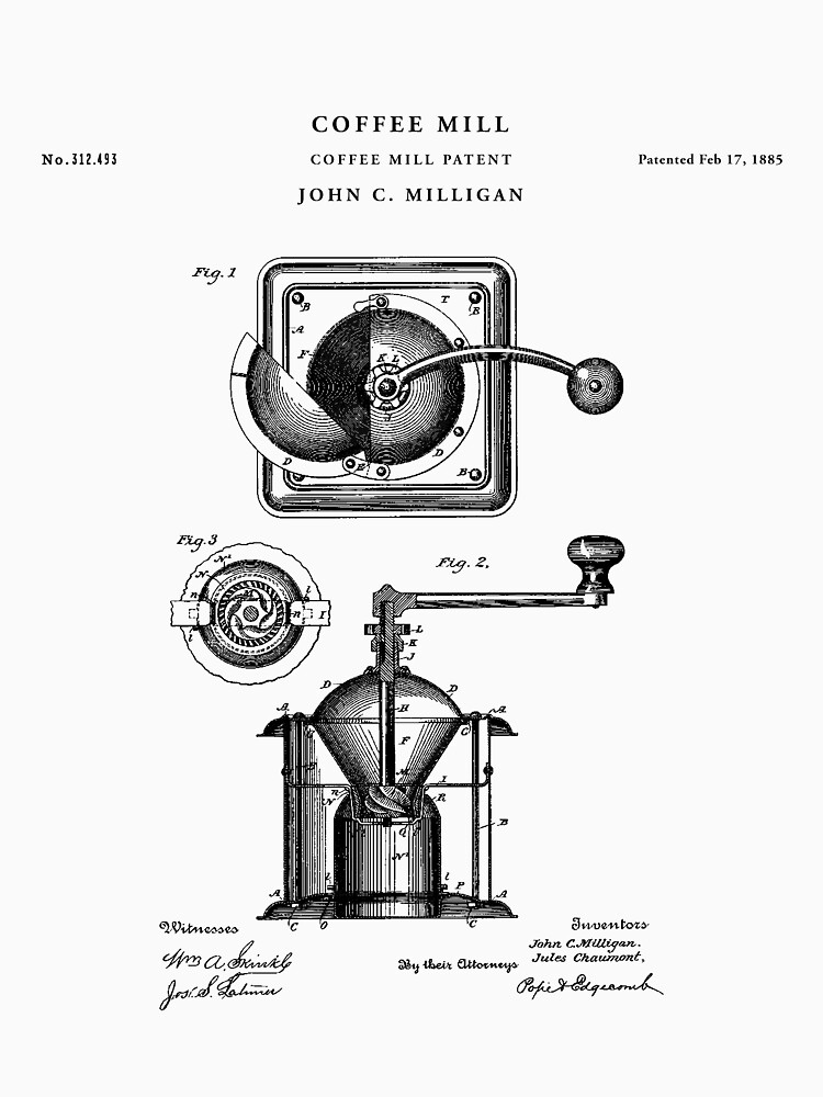 Coffee Mill Patent Drawing Blueprint by Vintago