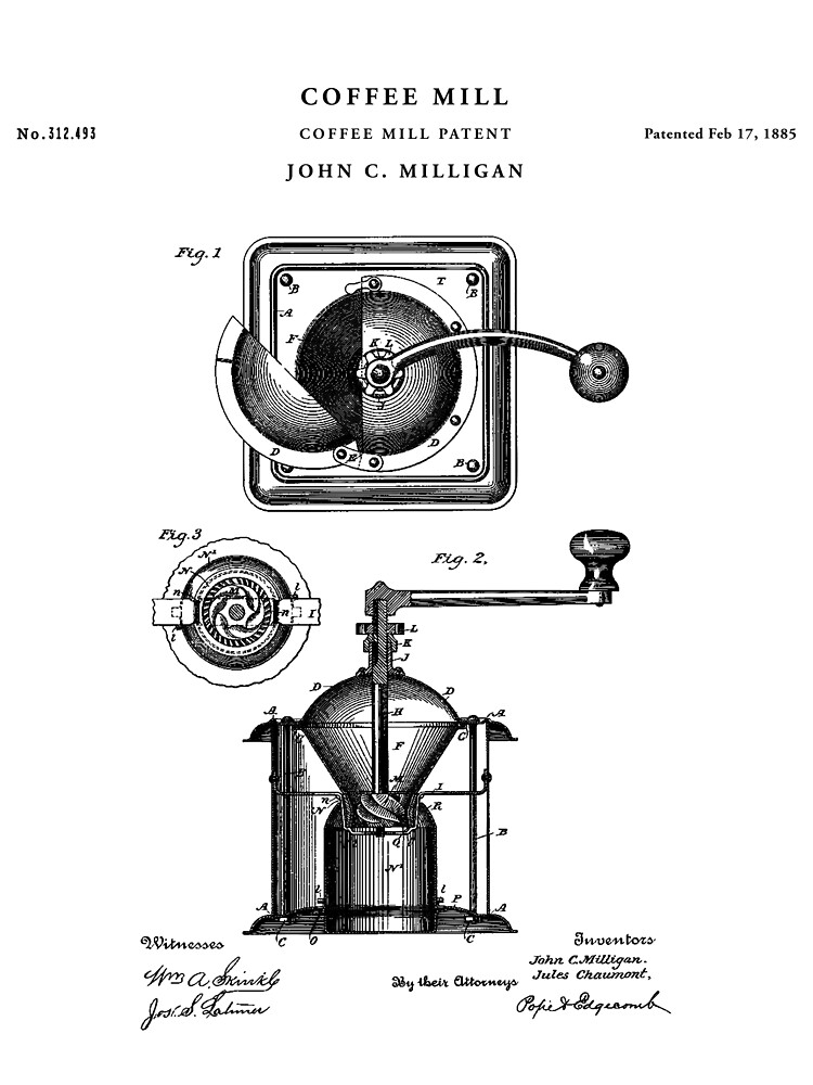 Coffee Mill Patent Drawing Blueprint Sticker By Vintago