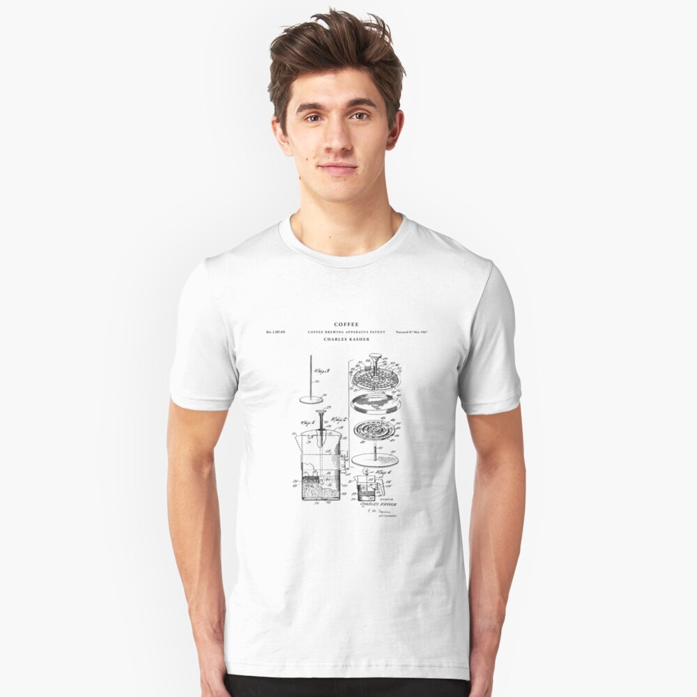 Coffee  Patent Drawing Blueprint Unisex T-Shirt Front