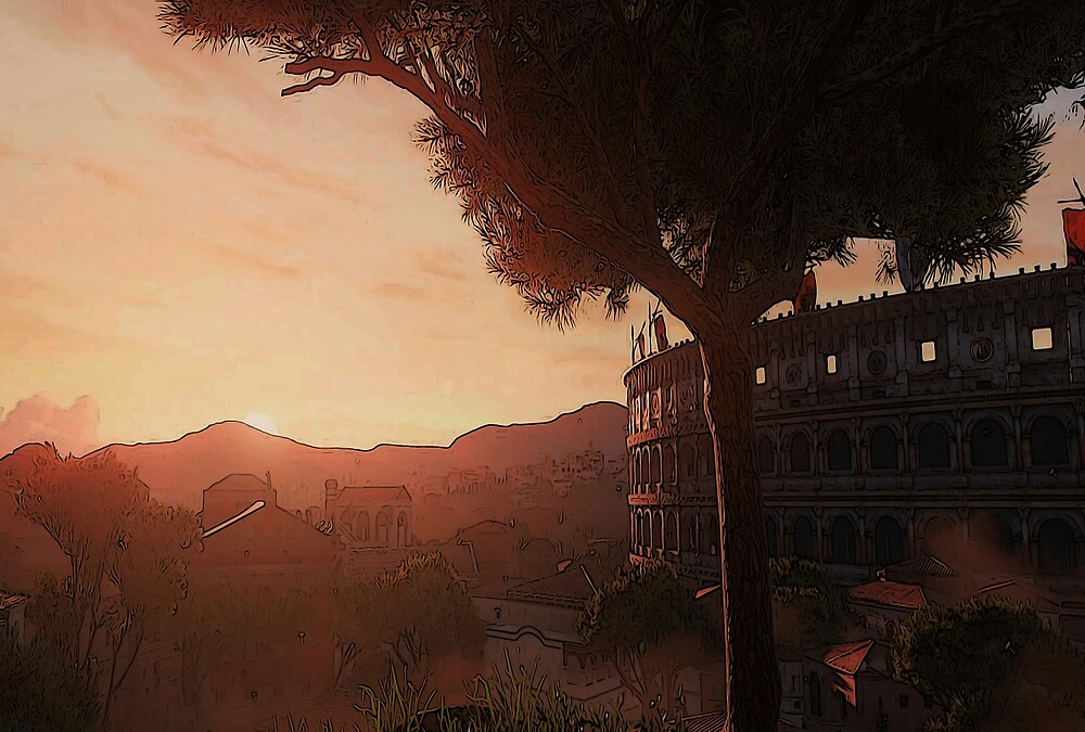 Sunset on ancient Rome by Andrea Mazzocchetti