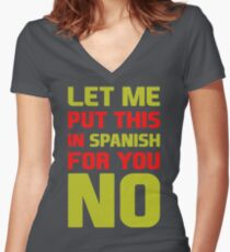 Let Me Put This In Spanish For You No VQ522 New Product Women's Fitted V-Neck T-Shirt