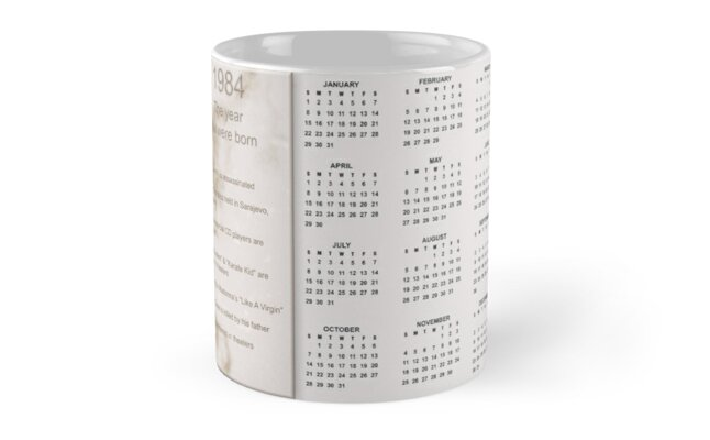 Born in 1984 Birthday Gift Mug by Colorwash