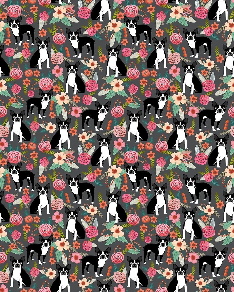 Boston Terrier floral dog breed pet art must have boston terriers gifts  by bostonterriers