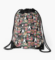 Boston Terrier floral dog breed pet art must have boston terriers gifts  Drawstring Bag