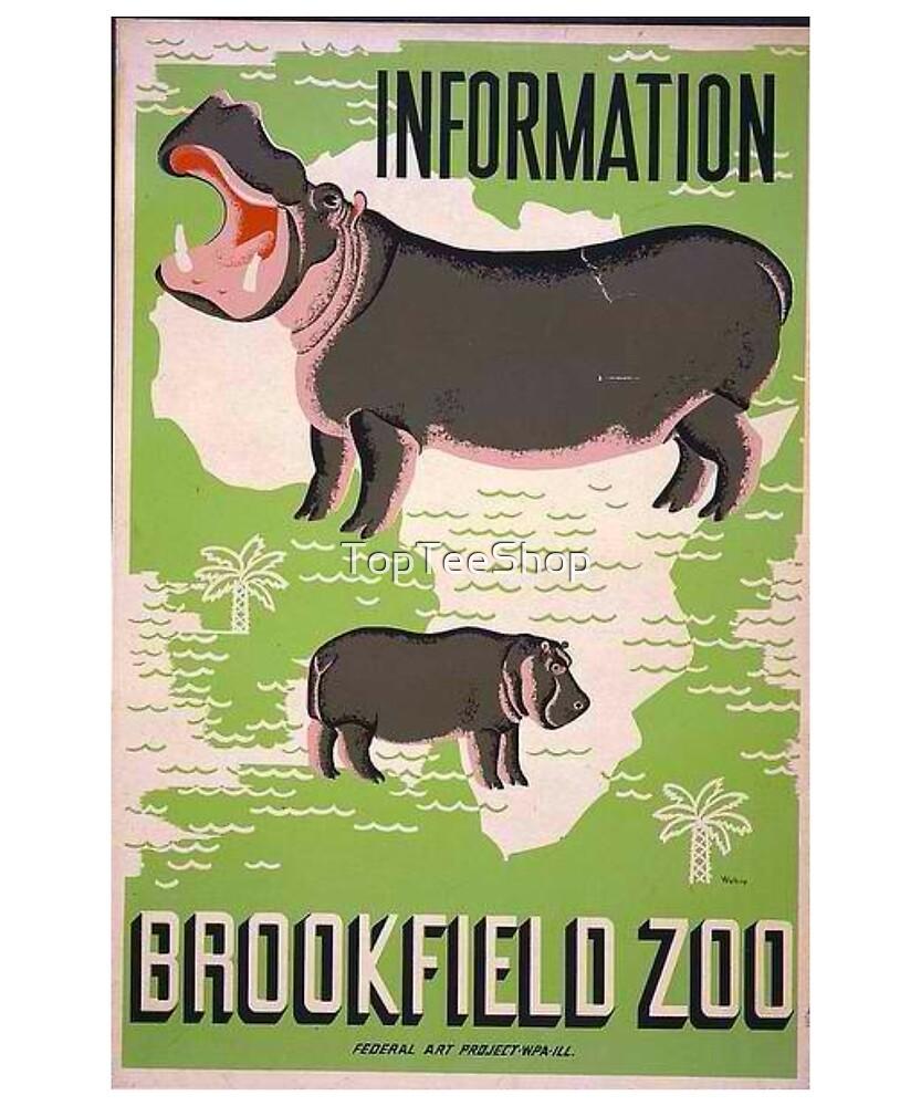 Vintage Zoo T-Shirt Hippopotamus Hippo Retro Poster by TopTeeShop