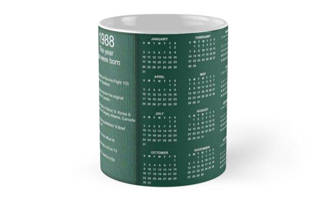 Born in 1988 Birthday Gift Mug by Colorwash