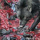 red river - black wolf at an autum riverbed von Schiraki