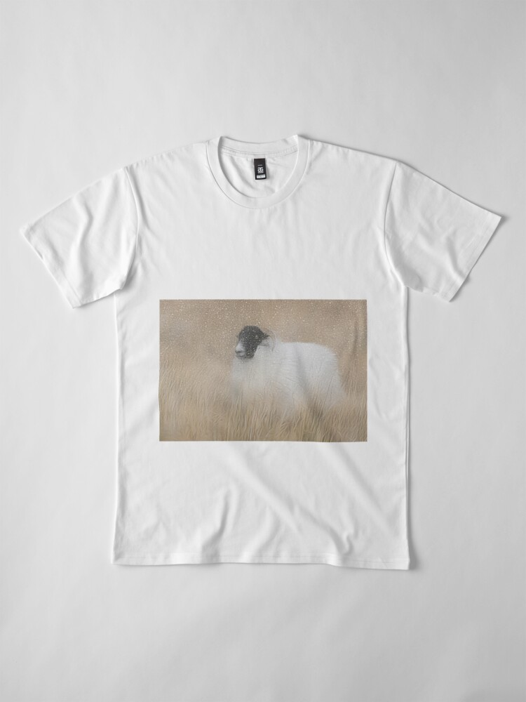 Alternate view of Moorland sheep in the snow Premium T-Shirt