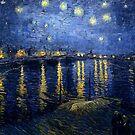 Original Vincent Willem van Gogh Impressionist Art Painting Restored Starry Night Over the Rhone by jnniepce