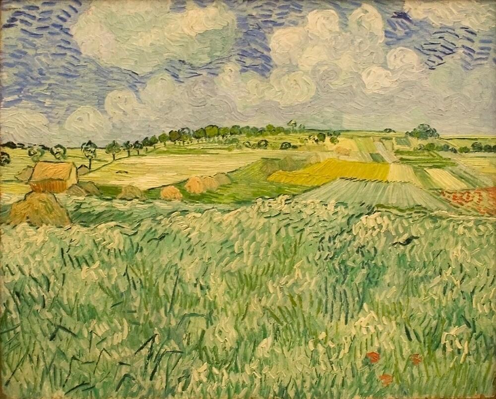 Original Vincent Willem van Gogh Impressionist Art Painting Restored Plain near Auvers by jnniepce