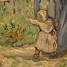 Original Vincent Willem van Gogh Impressionist Art Painting Restored Partial First Steps after Millet 1890 by jnniepce