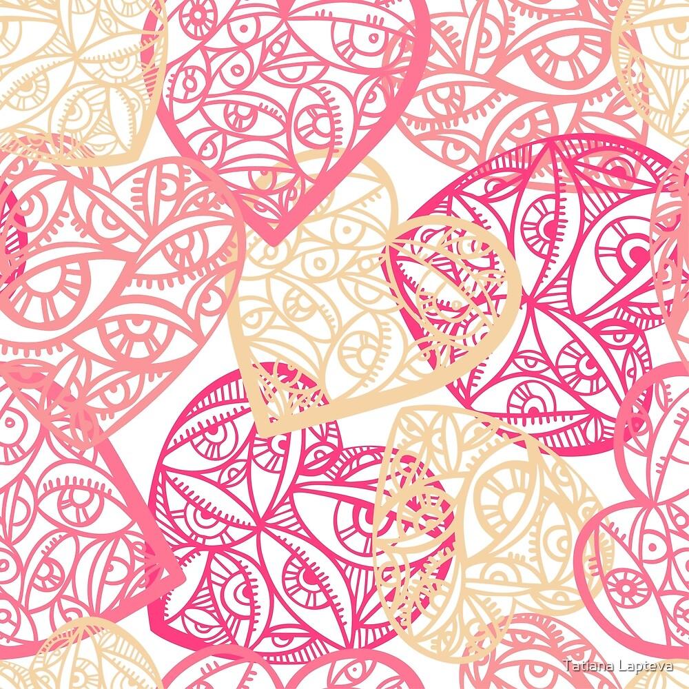 Seamless pattern with decorative heart  by Tatiana Lapteva