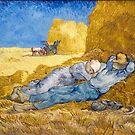 Original Vincent Willem van Gogh Impressionist Art Painting Restored Noon Rest from Work after Millet by jnniepce