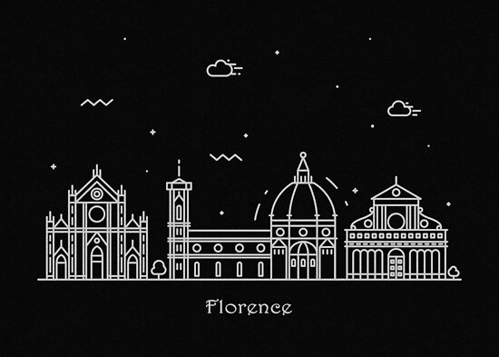 Florence Skyline Minimal Line Art Poster by geekmywall
