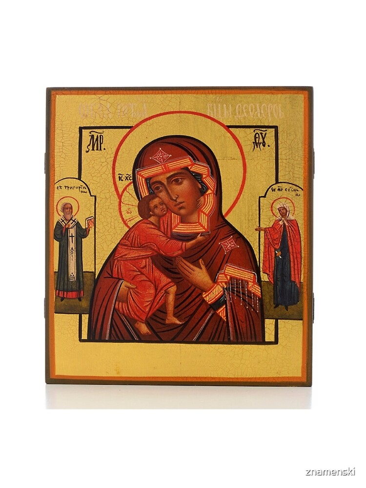 RUSSIAN ICON OF THE MOTHER OF GOD FEODOROWSKAYA WITH SAINTS by znamenski