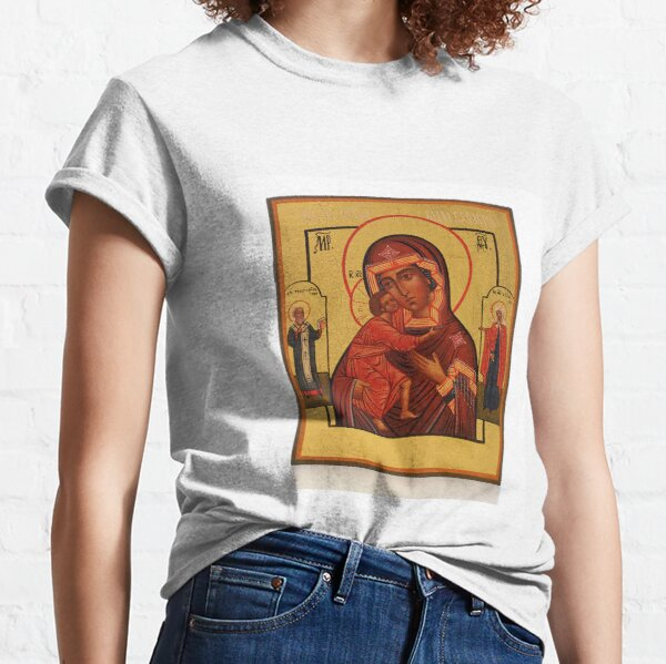 Russian Icon of the Mother of God Feodorowskaya with Saints Classic T-Shirt