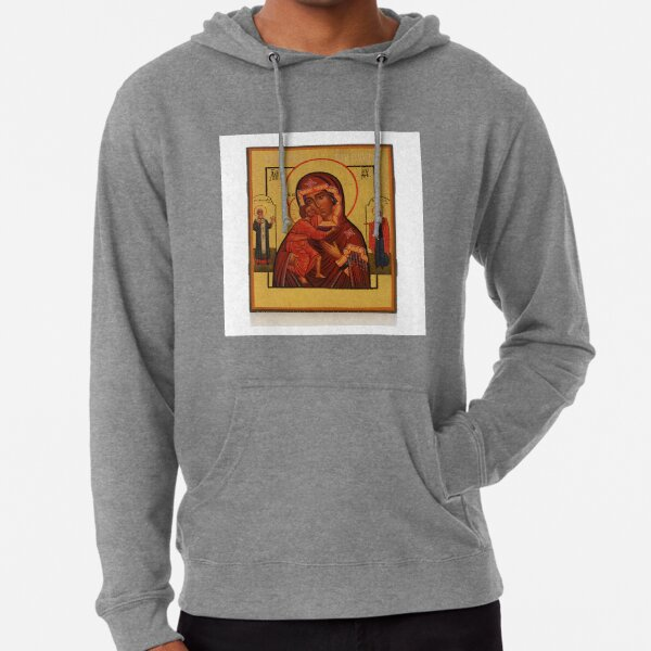 Russian Icon of the Mother of God Feodorowskaya with Saints Lightweight Hoodie