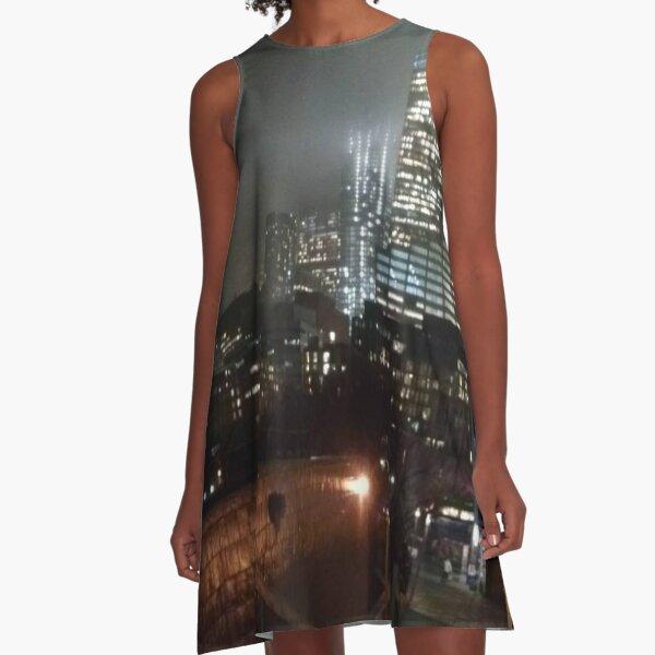 Night Lower Manhattan A-Line Dress