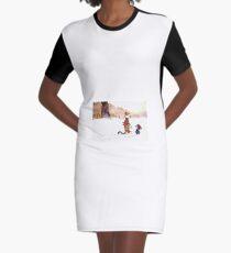 Calvin and Hobbes - Snow Tracks Graphic T-Shirt Dress