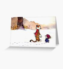 Calvin and Hobbes - Snow Tracks Greeting Card