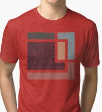 Abstract Geometry with Earth Tones Distressed Design Tri-blend T-Shirt
