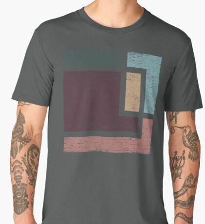Abstract Geometry with Earth Tones Distressed Design Men's Premium T-Shirt