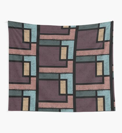 Abstract Geometry with Earth Tones Distressed Design Wall Tapestry