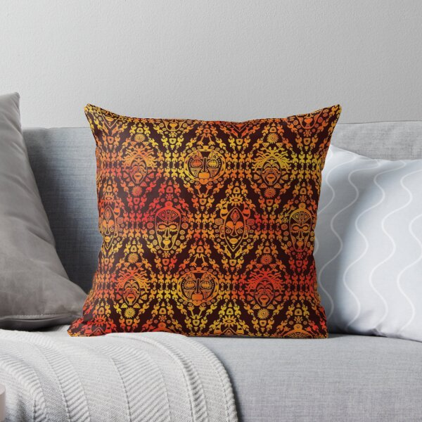 Pattern with African mask Throw Pillow