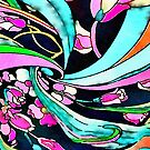 funky graffiti turquoise hot pink abstract pattern  by lfang77