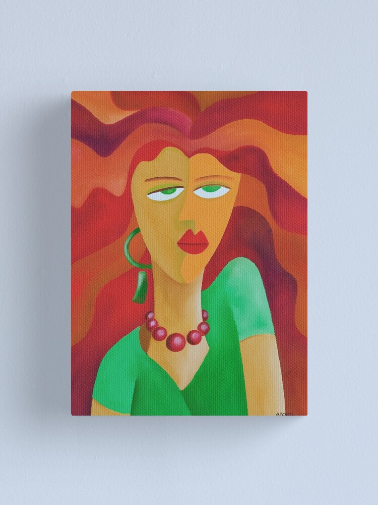 Alternate view of WOMAN WITH RED HAIR Canvas Print