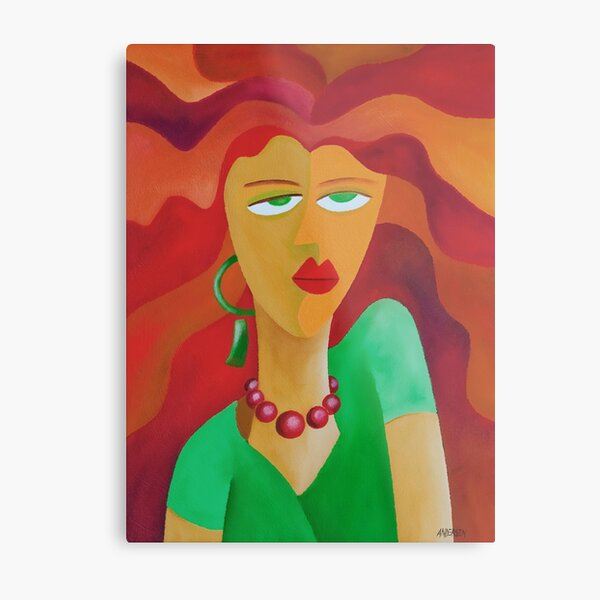 WOMAN WITH RED HAIR Metal Print