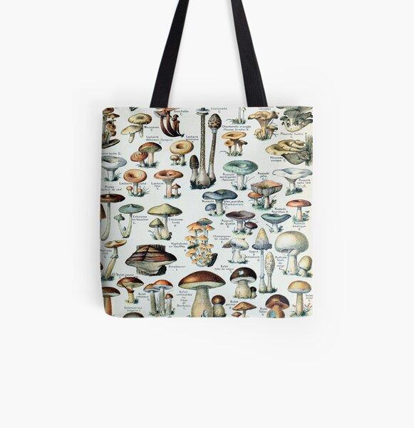 Vintage Edible Mushroom Chart All Over Print Tote Bag