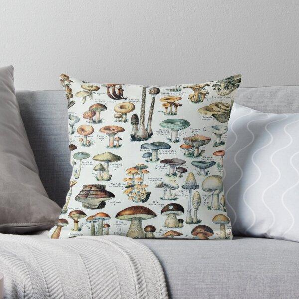 Vintage Edible Mushroom Chart Throw Pillow