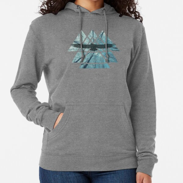 Sacred Geometry Triangles - Misty Forest Eagle Lightweight Hoodie