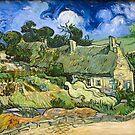 Original Vincent Willem van Gogh Impressionist Art Painting Restored Thatched Cottages at Cordeville by jnniepce