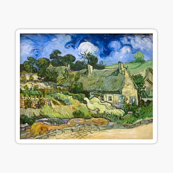Original Vincent Willem van Gogh Impressionist Art Painting Restored Thatched Cottages at Cordeville Sticker