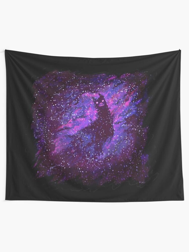 Alternate view of Cosmic Purple Space Llama Tapestry