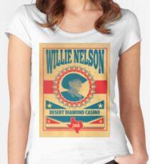art Willie Nelson Desert Diamond Casino Women's Fitted Scoop T-Shirt