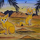 Fennec Foxes in the desert by George Hunter