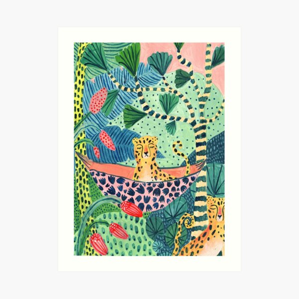 Jungle Leopard Family! Art Print