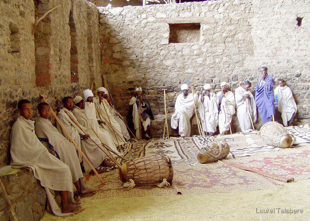 Priests & Deacons in an Ethiopian Monastery by Laurel Talabere